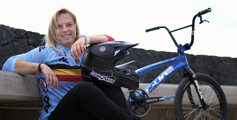 Elke Vanhoof posing with her BMX